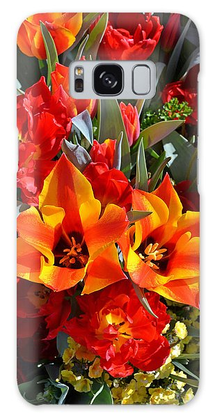 Tulips At The Pier Galaxy Case by Holly Blunkall