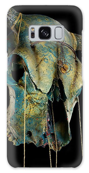 Turquoise And Gold Illuminating Steer Skull Galaxy Case