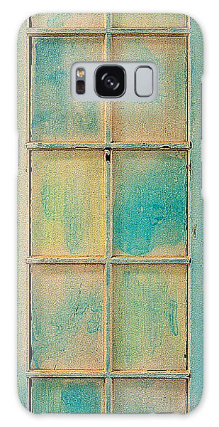 Turquoise And Pale Yellow Panel Door Galaxy Case by Asha Carolyn Young
