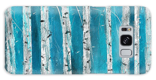 Turquoise Birch Trees II- Turquoise Art Galaxy Case