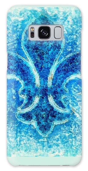 Turquoise Bleu Fleur De Lys Galaxy Case by Janine Riley