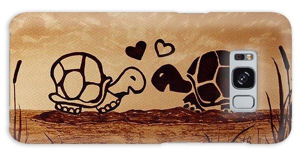 Turtles Love Coffee Painting Galaxy Case