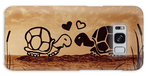 Turtles Love Coffee Painting Galaxy Case