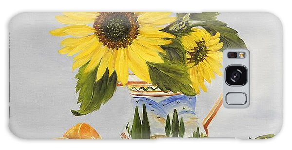 Tuscan Pitcher And Sunflowers Galaxy Case by Carol Sweetwood