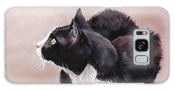 Tuxedo Cat Bird Watcher Galaxy Case