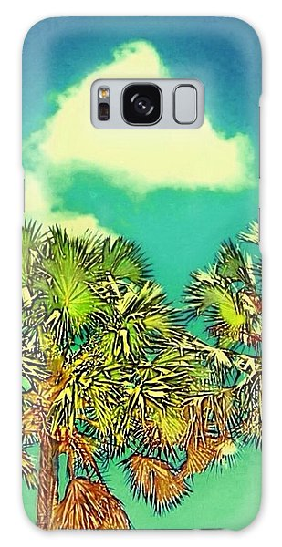 Twin Palms With Aqua Sky - Vertical Galaxy Case