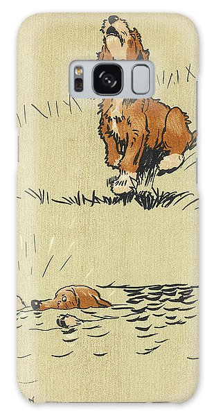 Whining Galaxy Case - Twin Puppy Snip Falls Into The Water by Mary Evans Picture Library