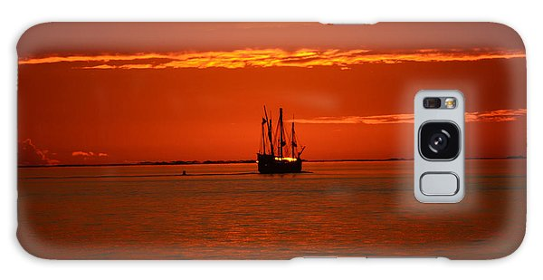 Two 3-masted Schooners Sail Off Into The Santa Rosa Sound Sunset Galaxy Case by Jeff at JSJ Photography