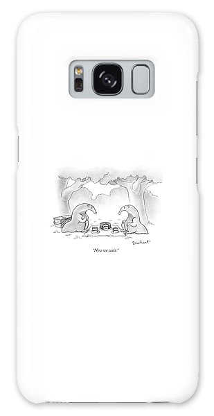 Two Anteaters On A Picnic Wait For Ants To Come Galaxy Case