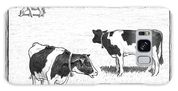Two Spotted Cows Looking At A Jersey Cow Galaxy Case