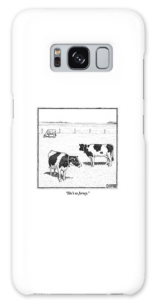Rural Scenes Galaxy S8 Case - Two Spotted Cows Looking At A Jersey Cow by Matthew Diffee