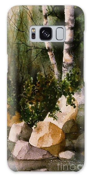 Two Birch By Rocky Stream Galaxy Case by Teresa Ascone