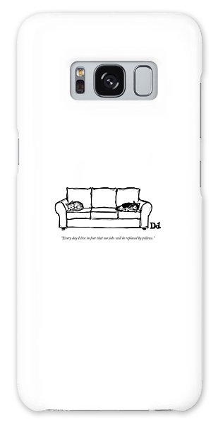 Two Cats Curl Up At Each End Of A Sofa Galaxy Case