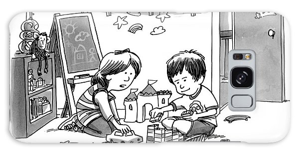 Two Children Converse While Playing With Blocks Galaxy Case