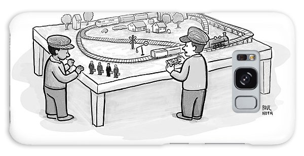 Trains Galaxy Case - Two Children Play With A Toy Train Set by Paul Noth