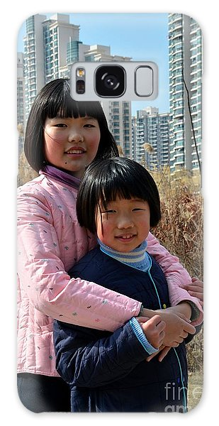 Two Chinese Teen Sisters Hug  And Embrace Shanghai China Galaxy Case