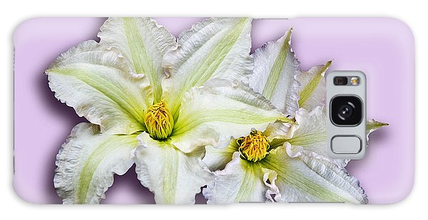 Two Clematis Flowers On Pale Purple Galaxy Case by Jane McIlroy
