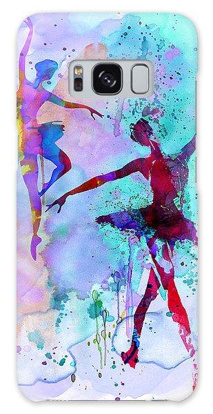Ballerina Galaxy Case - Two Dancing Ballerinas Watercolor 2 by Naxart Studio