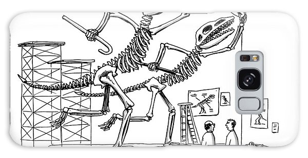 Two Dinosaur Skeletons At A Museum Galaxy Case