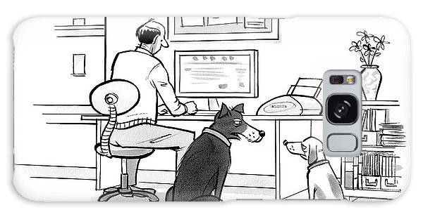 Two Dogs Speak As Their Owner Uses The Computer - Galaxy Case
