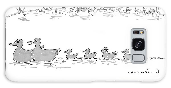 Two Ducks Lead A Line Of Four Ducklings Galaxy Case