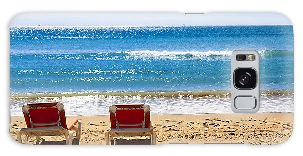 Two Empty Sun Loungers On Beach By Sea Galaxy Case