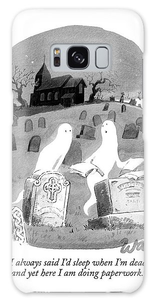 Two Ghosts Talk In A Graveyard.  One Is Holding Galaxy S8 Case