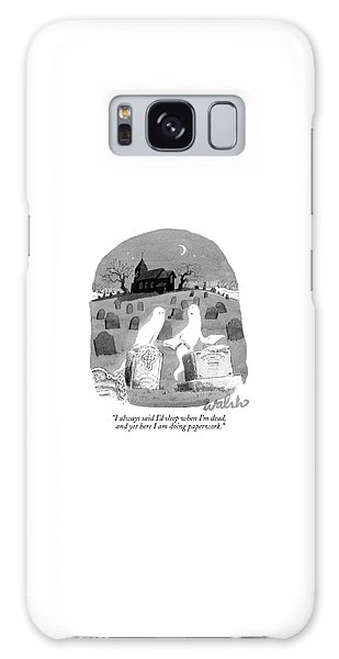 Two Ghosts Talk In A Graveyard.  One Is Holding Galaxy Case