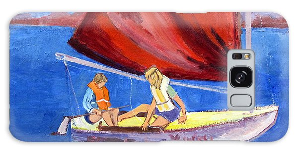 Two Girls Set To Sail With Red Sail Galaxy Case by Betty Pieper