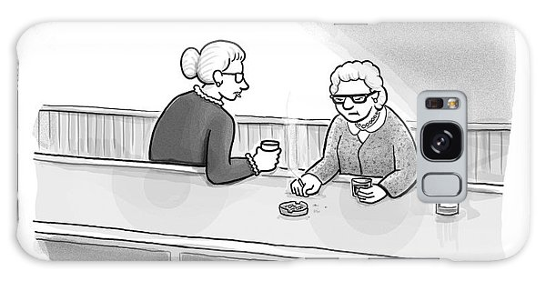 Two Grannies Smoke And Drink At A Bar Galaxy Case