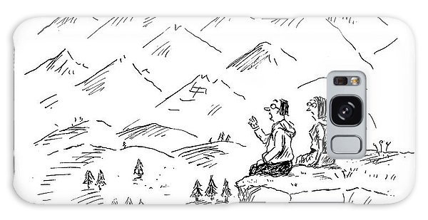 Two Hikers In A Mountainous Area Are Resting. One Galaxy Case