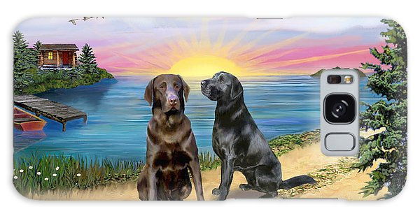Two Labs At The Lake Galaxy Case by Jean B Fitzgerald