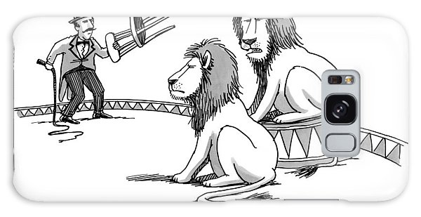 Two Lions Talk As A Lion Tamer Shakes A Chair Galaxy Case
