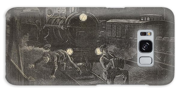 Trains Galaxy Case - Two Men Hit By A Train Illustration by French School