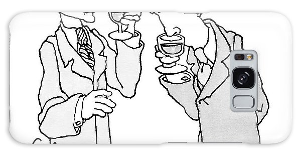 Two Men In Suits Hold Wine Glasses.  One Galaxy Case