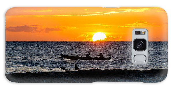 Two Men Paddling A Hawaiian Outrigger Canoe At Sunset On Maui Galaxy Case