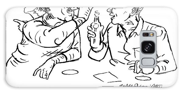 Two Men Talk In A Bar Holding Beer Bottles Galaxy Case