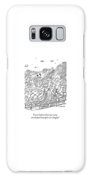 Waterfall Galaxy Case - Two Onlookers Watch As A Man In A Row Boat Gets by Michael Crawford