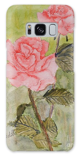 Two Pink Roses Galaxy Case by Pamela  Meredith