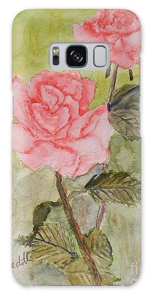 Two Pink Roses Galaxy Case
