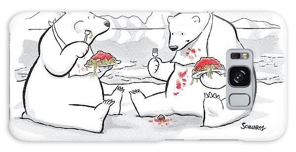 Two Polar Bears Eat Spaghetti And Meatballs.  One Galaxy S8 Case