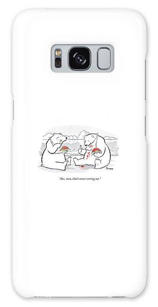 Polar Bear Galaxy S8 Case - Two Polar Bears Eat Spaghetti And Meatballs.  One by Benjamin Schwartz