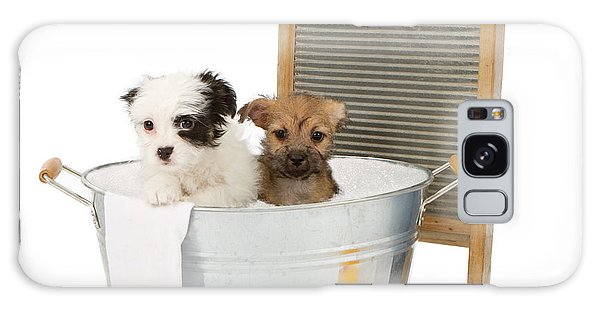 Two Puppies Taking A Bath Galaxy Case