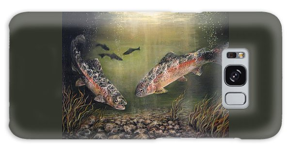 Two Rainbow Trout Galaxy Case by Donna Tucker