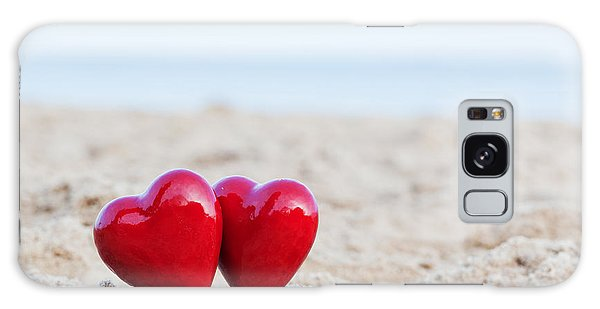 Two Red Hearts On The Beach Symbolizing Love Galaxy Case