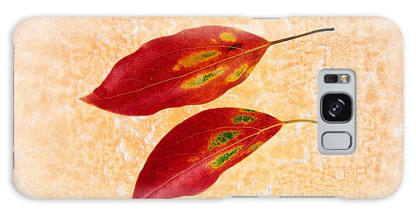 Mottled Galaxy Case - Two Red Leaves On Pink Background by Panoramic Images
