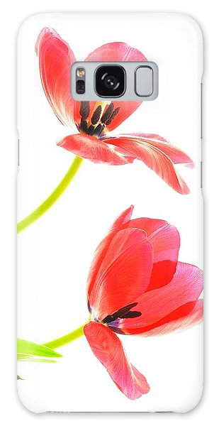 Two Red Transparent Flowers Galaxy Case