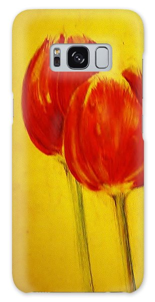 Two Red Tulips Galaxy Case by Jean Cormier