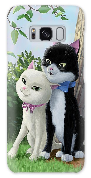 Two Romantic Cats In Love Galaxy Case