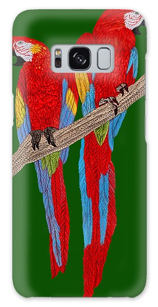 Two Scarlet Macaw Galaxy Case by Walter Colvin